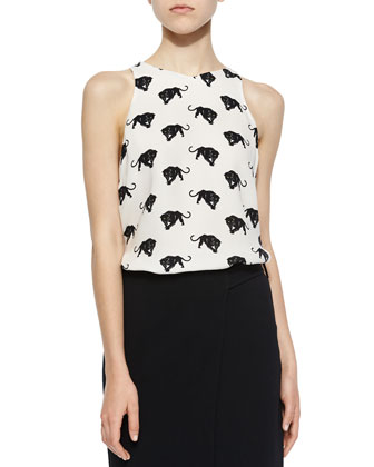 Anise Panther-Print Silk Top, White