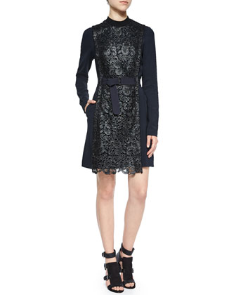 Stretton Long-Sleeve Lace Dress, Navy/Black