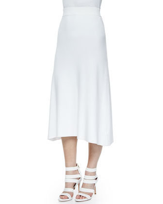 Ford Crossover Cropped Sweater & Cook Stretch A-Line Midi Skirt, White
