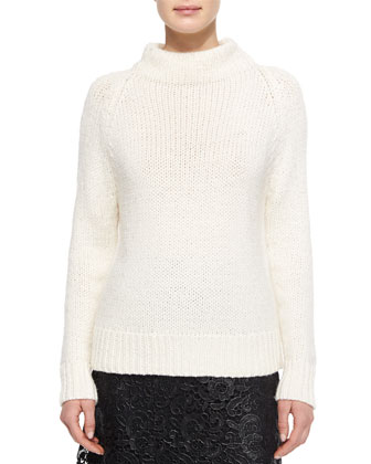Calo Mock-Neck Knit Sweater & Kennedy Coated Lace Skirt