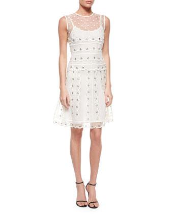 Sleeveless Organza Tulle Grommet Dress