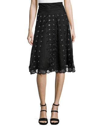 Long-Sleeve Sweater W/ Swiss Dot Detail & Organza Skirt with Grommets