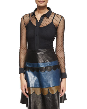 Lace Long-Sleeve Blouse