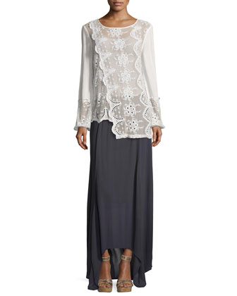Long-Sleeve Embroidered Lace Asymmetric Top, Women's