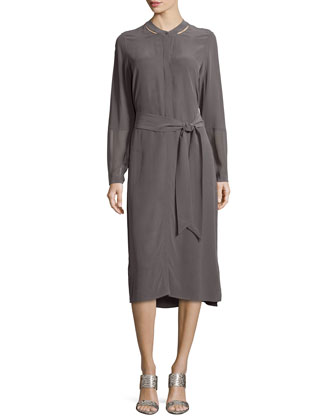 Long-Sleeve Silk Shirtdress, Petite