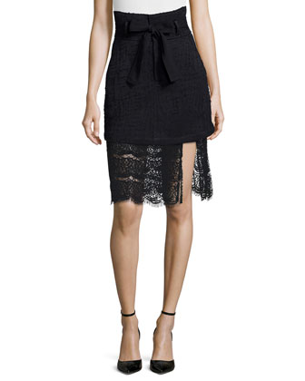 Esther Tie-Neck Flowy Blouse & Gaston Tweed/Lace Combo Skirt