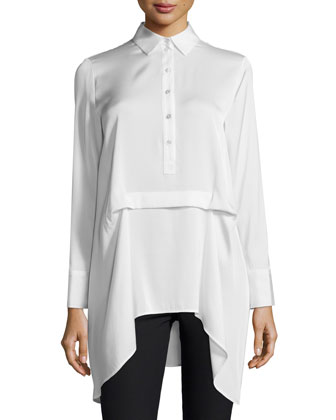Jordan High-Low Silk Tuck Blouse, White