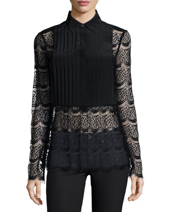 Meadow Lace Tuxedo Blouse, Black