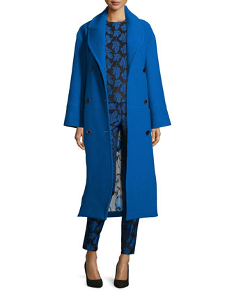 Long Belted Wool Coat, Leaf-Jacquard Crochet-Shoulder Blouse & Leaf ...