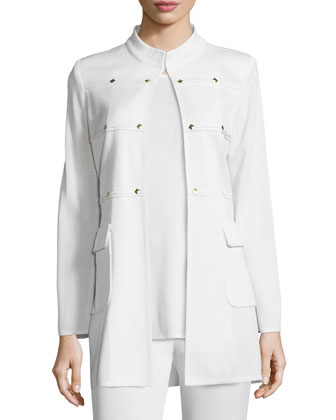 Studded Long Jacket, Cream, Women's