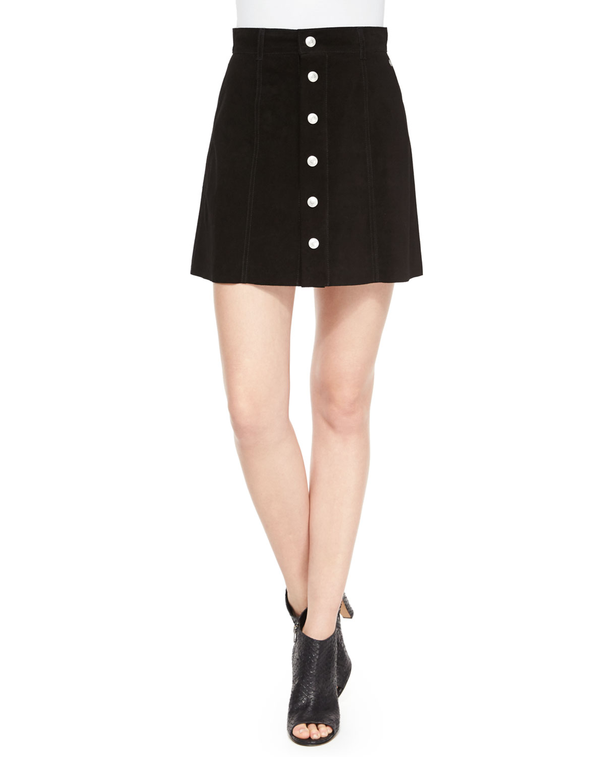 The Gove Pleated Suede Skirt, Super Black, Size: 25, Suede Super Black - Alexa Chung for AG