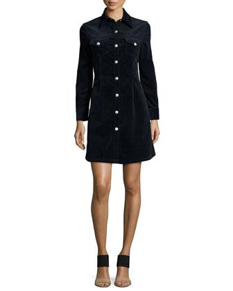 Pixie Long-Sleeve Denim Shirtdress, Dark Navy