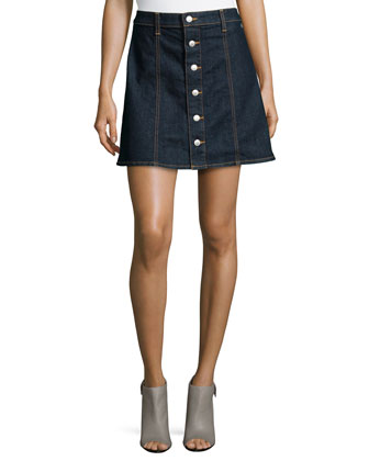The Kety Button-Front Denim Skirt, Lonestar