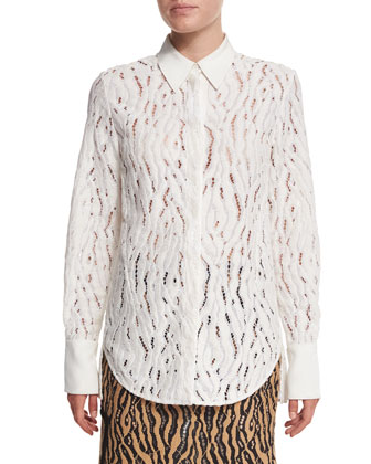 Classic Lace Button-Down Shirt, Cream