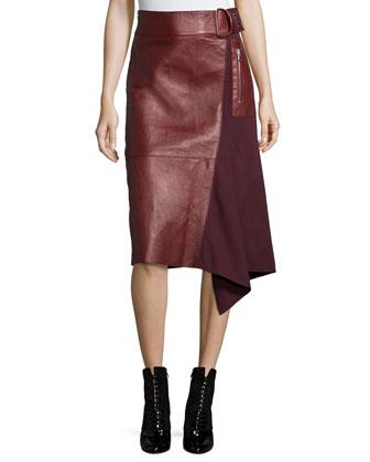 Long-Sleeve Fringe Pullover Sweater & Leather Flight Detail Skirt