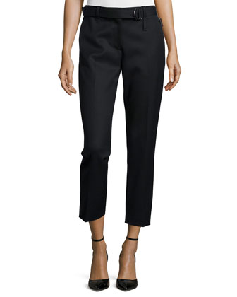 Cropped Wool Utility Pants, Black