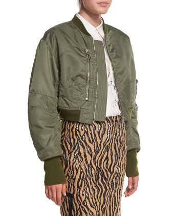 Cropped Flight Jacket, Army