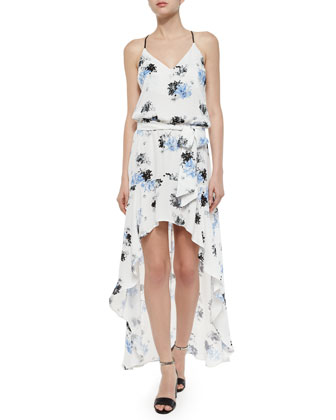 Alma Floral High-Low Dress, White/Multicolor