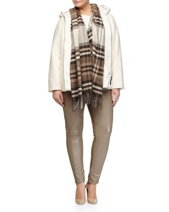 Novella Hooded Coat, Scacchi Foulard Scarf W/ Fringe, Agente Wool-Blend ...