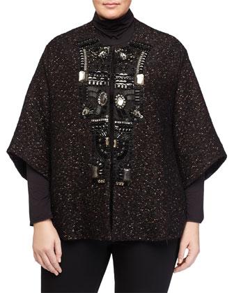 Norvegia Tweed Short Coat W/ Embellished Trim, Women's