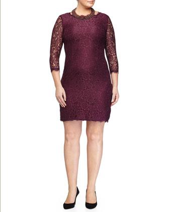 3/4-Sleeve Lace Sheath Dress, Women's