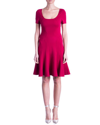 Aura Scoop-Neck Fit-and-Flare Dress, Raspberry