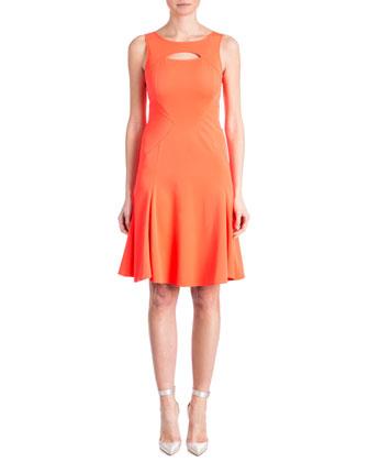 Joanna Peek-A-Boo Contour Dress, Spiced Coral