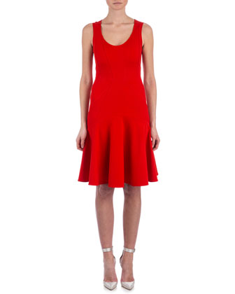 Karen Fit-and-Flare Contour Dress, Poppy