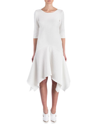 Susanna 3/4-Sleeve Textured Handkerchief Dress