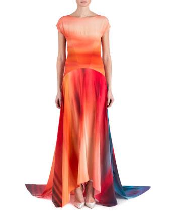 Miriam Short-Sleeve Ombre-Print Handkerchief Gown