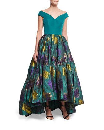 Off-The-Shoulder Ball Gown, Teal Floral