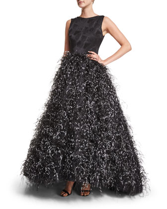 Sleeveless Feather-Skirt Gown, Black/White