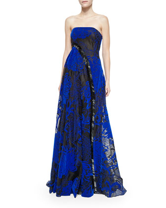 Strapless Asymmetric Beaded Gown, Cobalt/Black