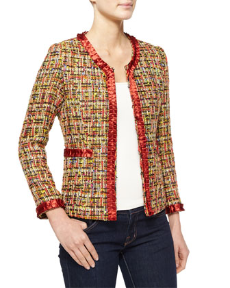 Tweed Jacket with Satin Trim, Plus Size