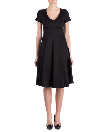 Marta V-Neck Fit-and-Flare Dress, Black