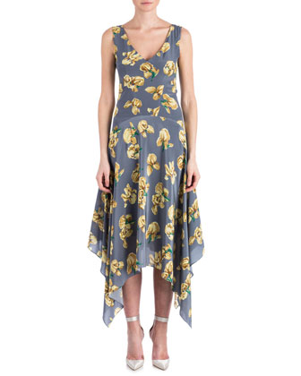 Silk May Daffodil Hank-Hem Dress, Storm/Multicolor