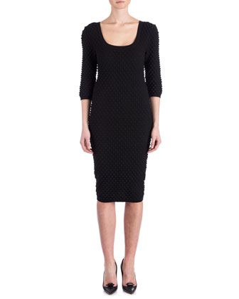 Ivette Bubble-Knit Sheath Dress, Black
