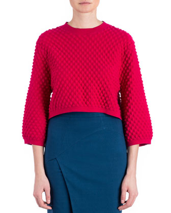 Ivette Textured-Knit Sweater, Raspberry