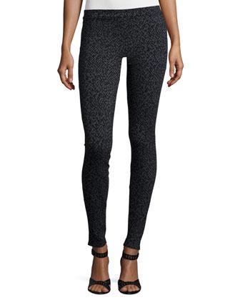 Loysse Mock-Neck Knit Poncho & Keena Smudge-Print Skinny Pants