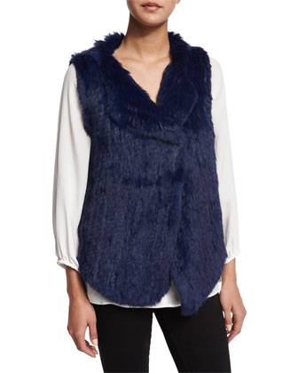 Andoni Rabbit Fur Vest & Lindrall Tie-Front Blouse