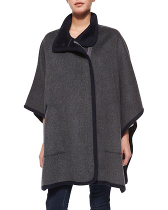 Kenzie Double-Face Wool Coat & Lindrall Tie-Front Blouse