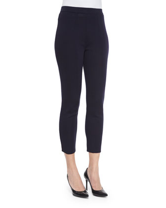 Slim Cropped Ankle Pants, Navy, Women's