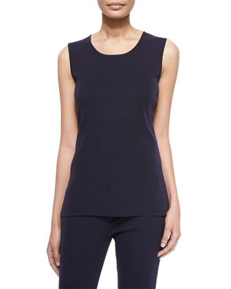 Round-Neck Sleeveless Tank, Navy, Women's
