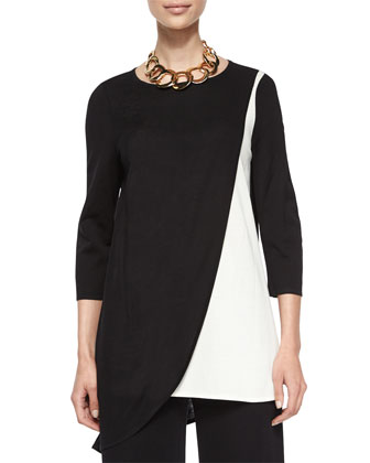 Colorblock Asymmetric Tunic, Petite