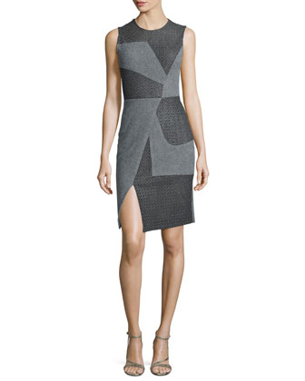 Sleeveless Asymmetric-Seam Dress, Gray