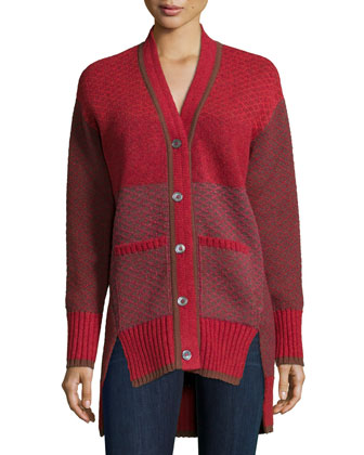 Long-Sleeve Split-Hem Cardigan, Red