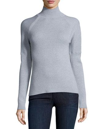 Turtleneck Long-Sleeve Sweater, Platinum