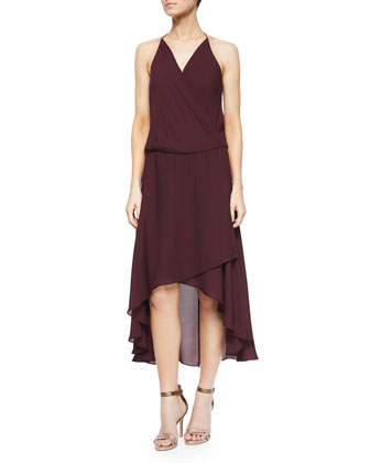 Halter Faux-Wrap High-Low Dress