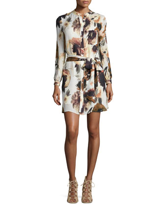 Jacquard Long Coat w/Suede Pockets & Floral-Print Silk Shirtdress