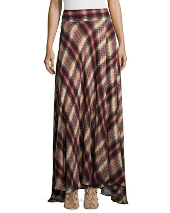 Chevron Plaid Print Silk Maxi Skirt